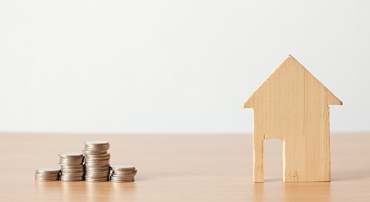 wooden house and spare coins